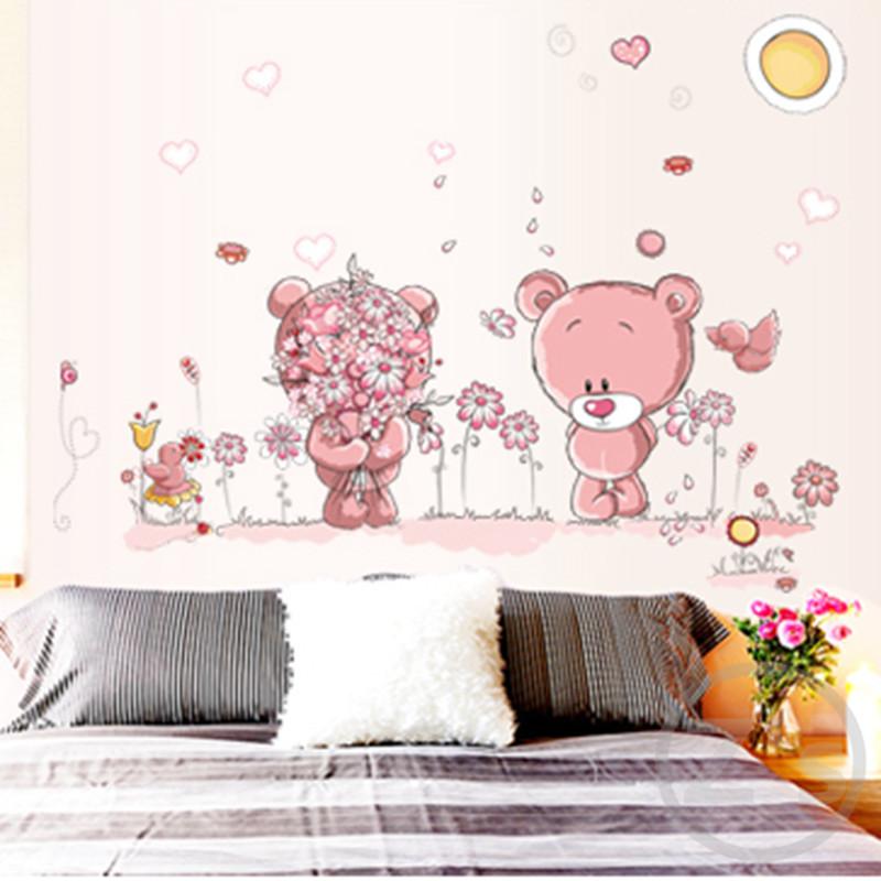 Živá Zeď samolepka Růžoví medvídci 165 x 140 cm