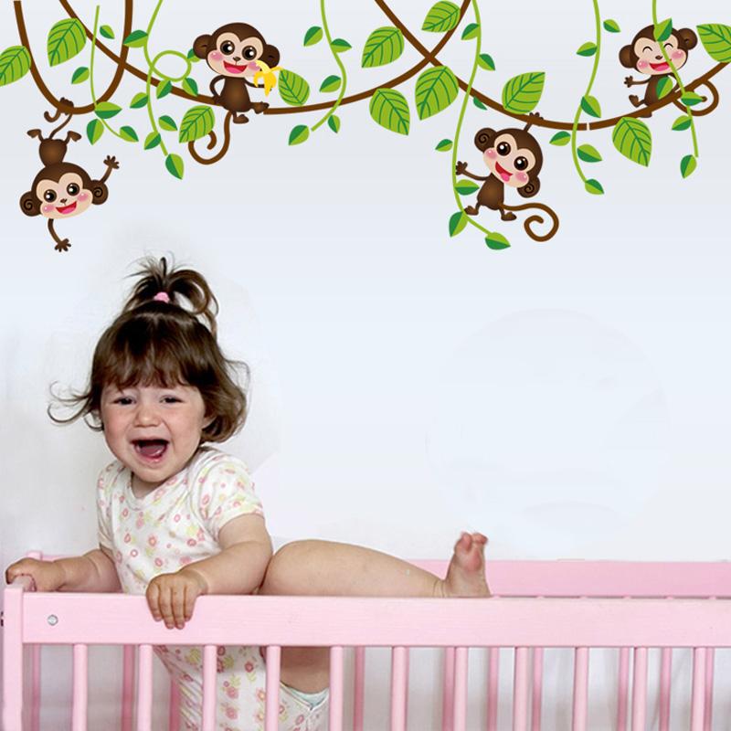 Živá Zeď samolepka Opice na liáně 150 x 47 cm
