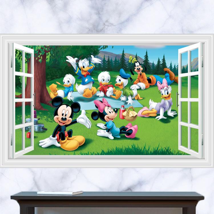 Živá Zeď samolepka Mickey Mouse Minnie kačer Donald Goofy 60 x 40 cm
