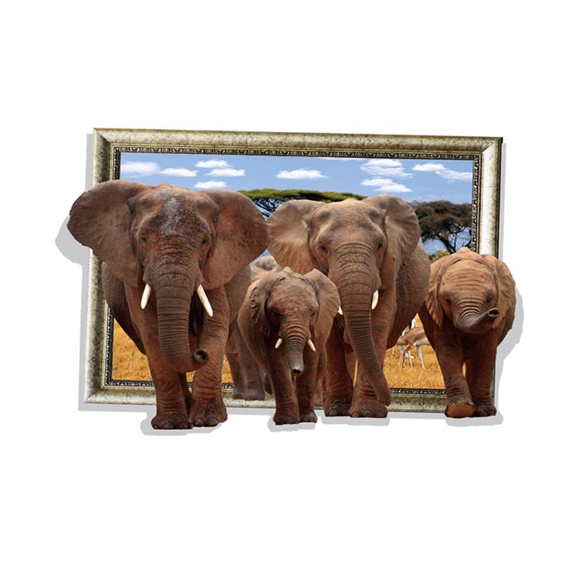 Živá Zeď samolepka Sloni Safari 88 x 58,5 cm