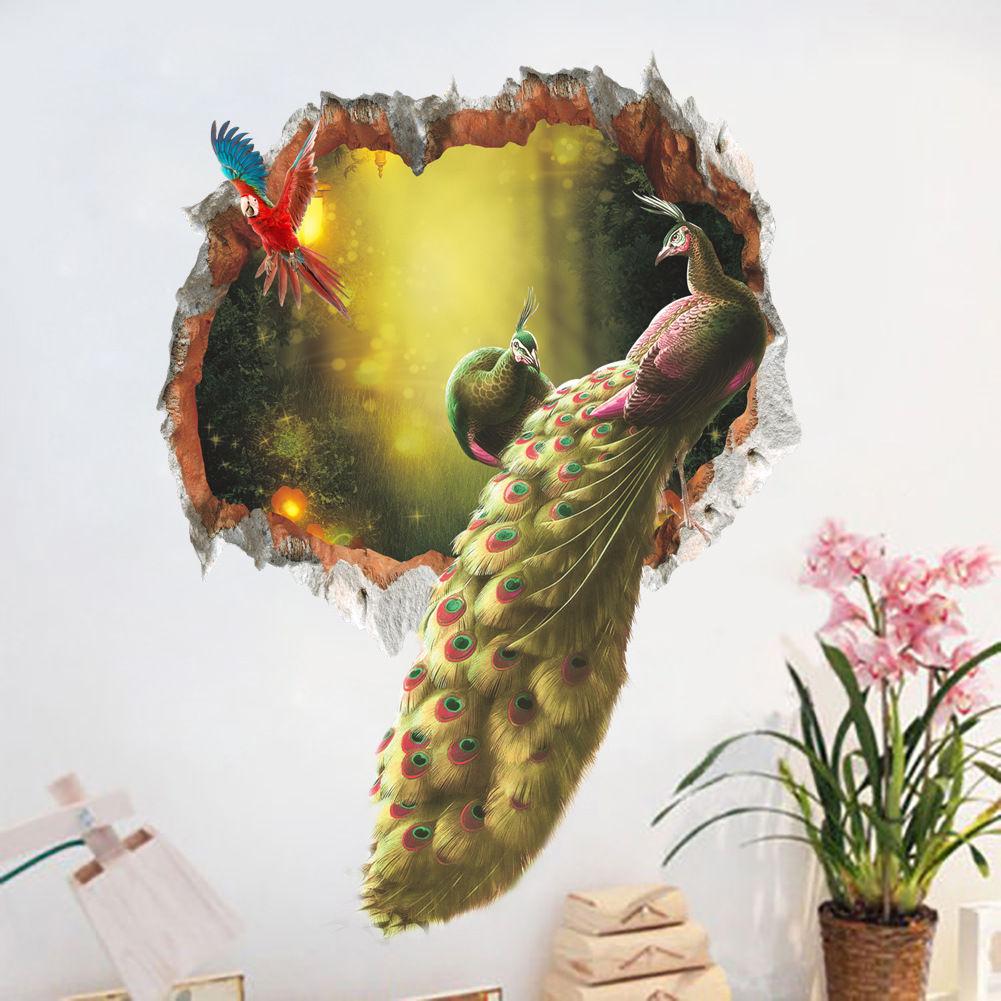 Živá Zeď samolepka Pestrobarevný páv 65 x 48 cm