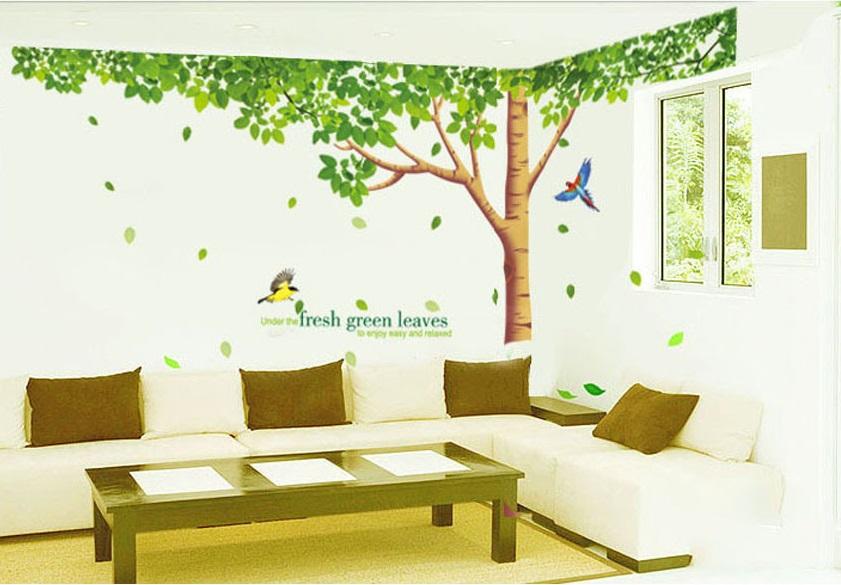 Živá Zeď Samolepka Zelený listnatý strom 310 x 204 cm