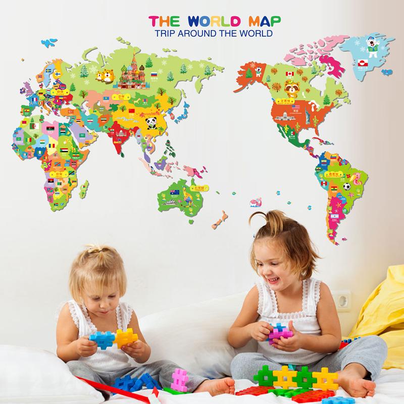Živá Zeď Samolepka Barevná dětská mapa Světa 99 x 59 cm