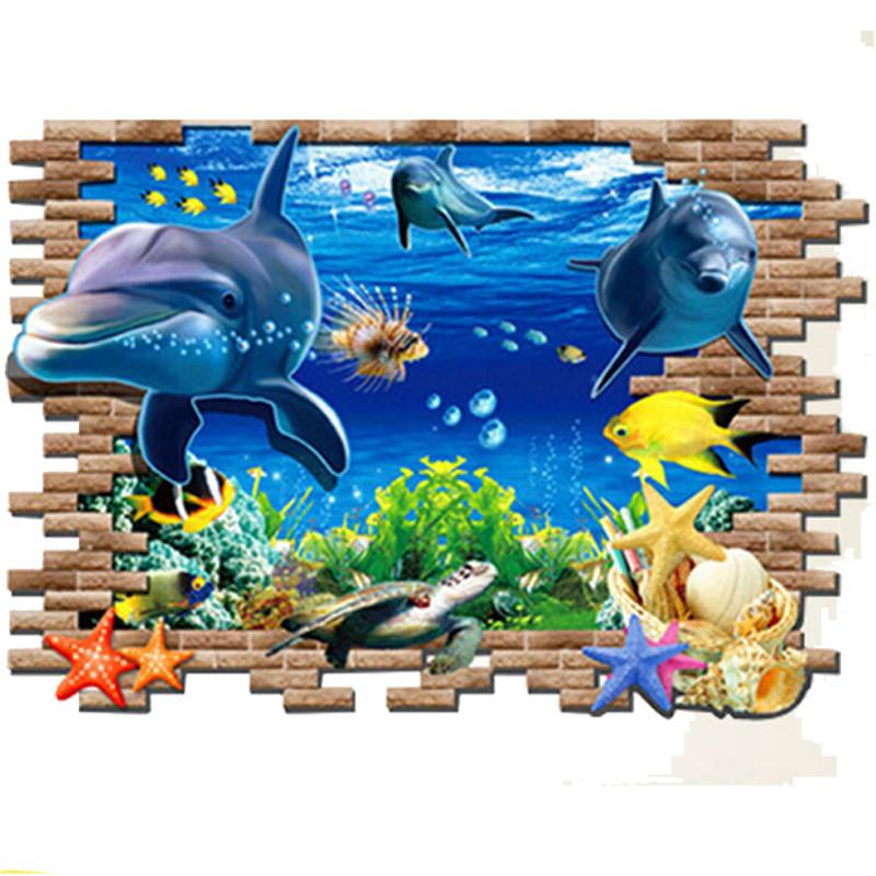 Živá Zeď samolepka Roztomilí delfíni Velikost: 97 x 67 cm