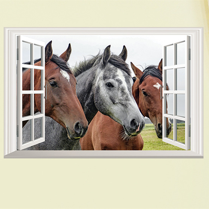 Živá Zeď Samolepka Koně %%59 x 39 cm