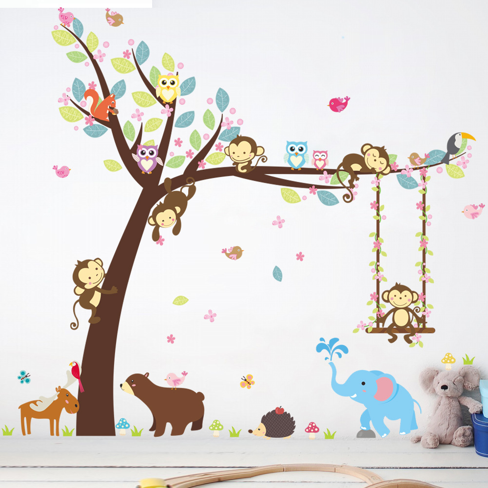 Živá Zeď Samolepka Strom s houpačkou a zvířátky 116 x 104 cm