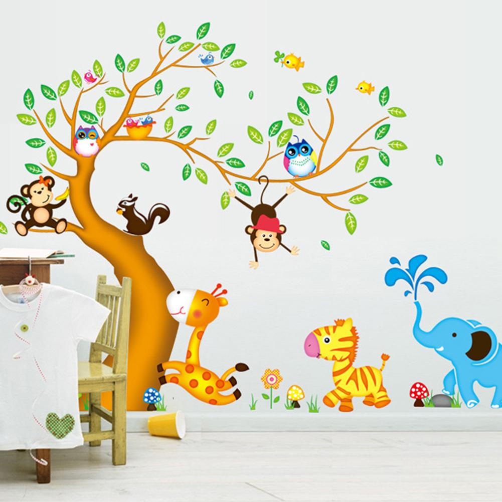 Živá Zeď samolepka Strom a zvířátka ze Zoo 197 x 135 cm