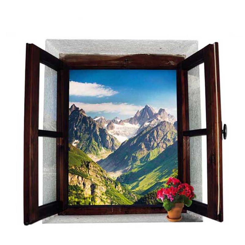 Živá Zeď Samolepka Okno s výhledem na hory 70 x 50 cm
