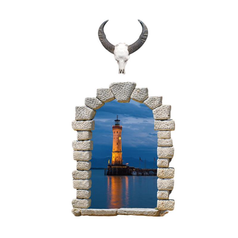 Živá Zeď Samolepka Okno s výhledem na maják 110 x 58 cm