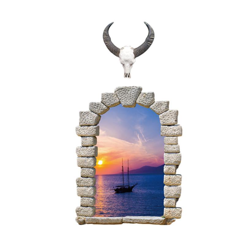Živá Zeď Samolepka Okno s výhledem na plachetnici 110 x 58 cm