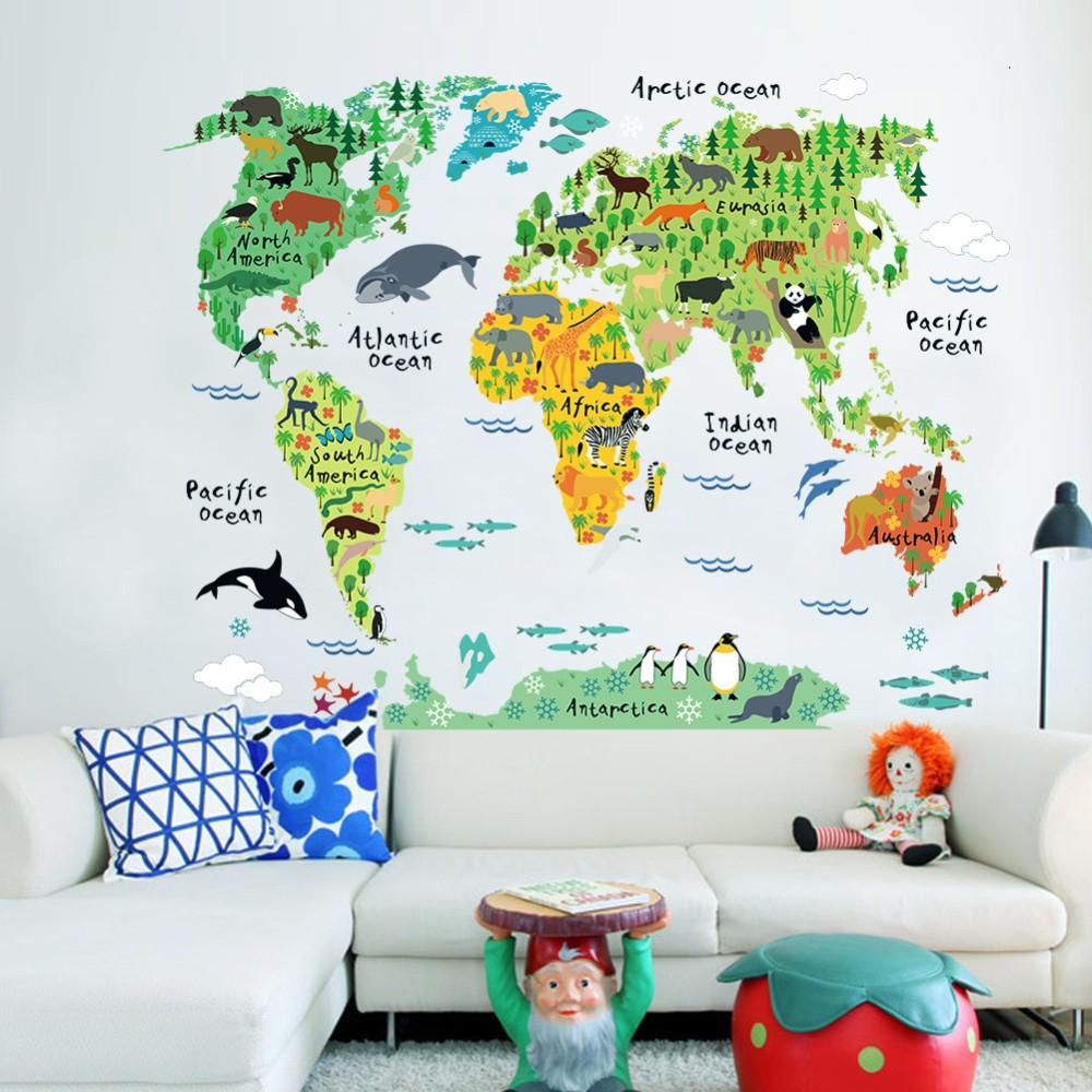 Živá Zeď Samolepka Dětská mapa Světa 95 x 73 cm