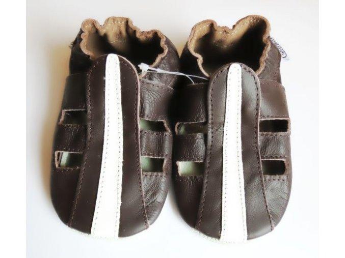 Kožené capáčky hnědé sandálky 1