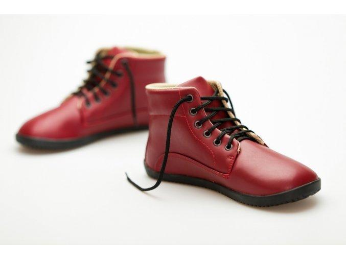 barefoot boty kotnikove cervene