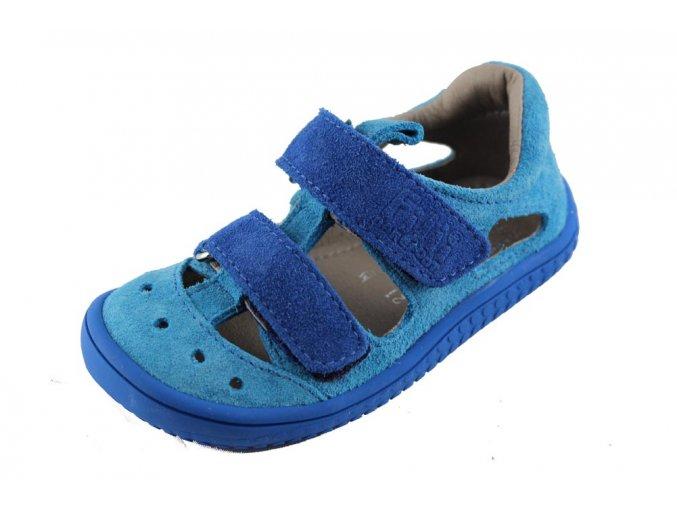Filii barefoot 19012-22 Kaiman - sandály velcro velours terquoise/blue M