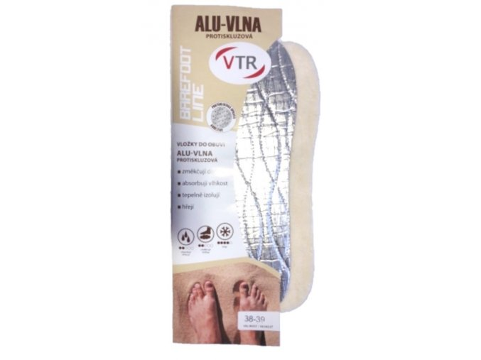 Vložky do bot ALU vlna barefoot - zastřihávací, protiskluzové