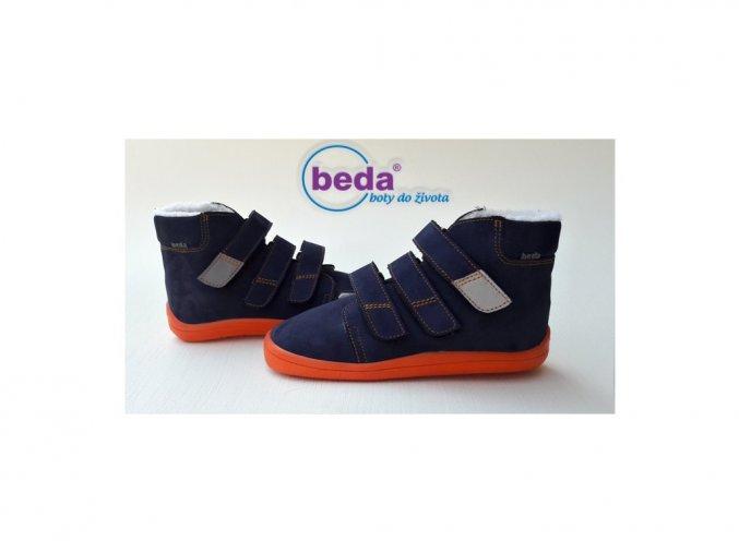 Beda Barefoot zimní vyšší Blue mandarine s membránou BF-0001/W/MK broušená kůže