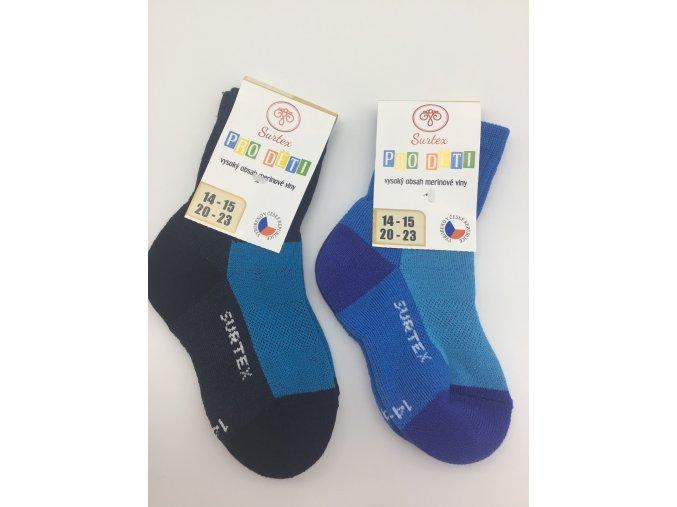 Surtex ponožky 80% merino, dětské,volný lem - tyrkysové