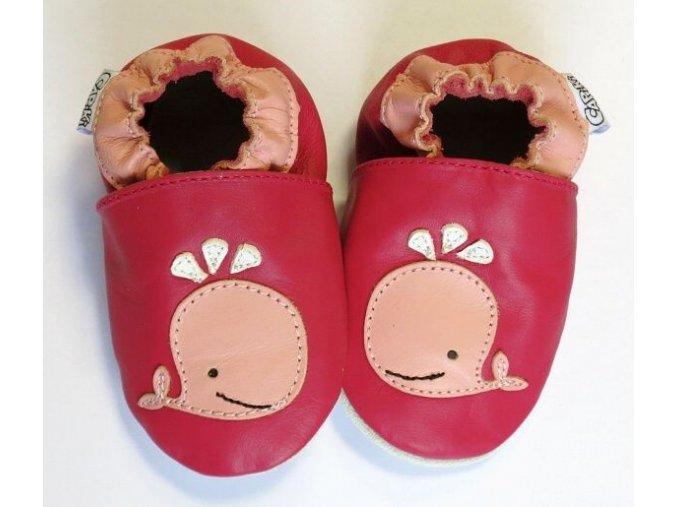kožené capáčky velrybka růžová2