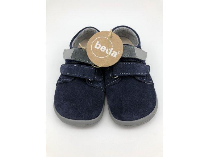 Beda Barefoot nízké LUCAS na suchý zip (šedivý pásek)