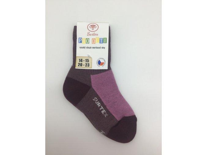 Surtex ponožky 80% merino, dětské,volný lem - fialové