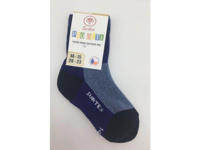 Surtex ponožky 80% merino, dětské,volný lem - tmavě modré