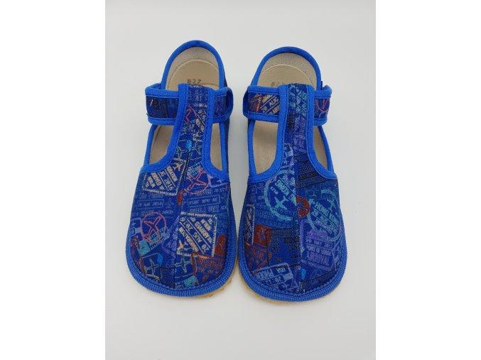 Beda Barefoot bačkůrky, UŽŠÍ, modré nápisy BF-060010/W/02