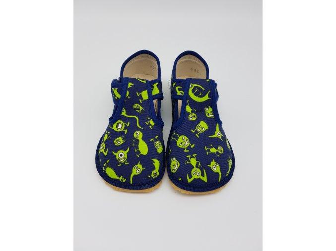 Beda Barefoot bačkůrky zelená příšerka BF-060010/W