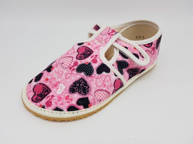 Jonap Barefoot bačkůrky - srdíčka černá na růžové