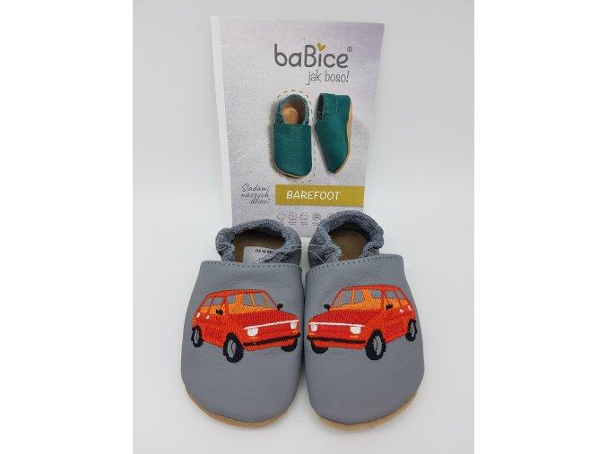 baBice barefoot capáčky EM037 - auto červené