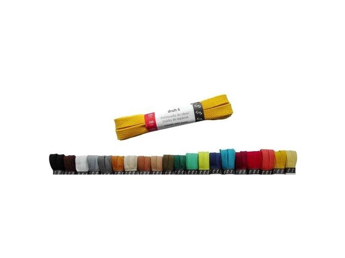 Tkaničky PLOCHÉ bavlněné barevné 120 cm