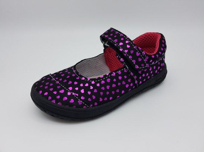 Jonap Barefoot B14S - černé balerínky (vzor růžová srdíčka) SLIM