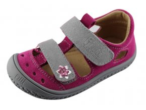 Filii barefoot sandálky V19012-80 Kaiman - velcro velours pink/grey M