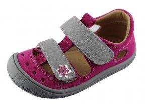 Filii barefoot V19012-80 Kaiman - sandály velcro velours pink/grey M