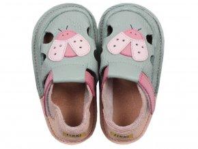 5873 barefoot kids sandals green ladybug
