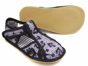Ef Barefoot bačkůrky 386 OTEVŘENÉ Jeans kotva (tmavě modrá stélka)