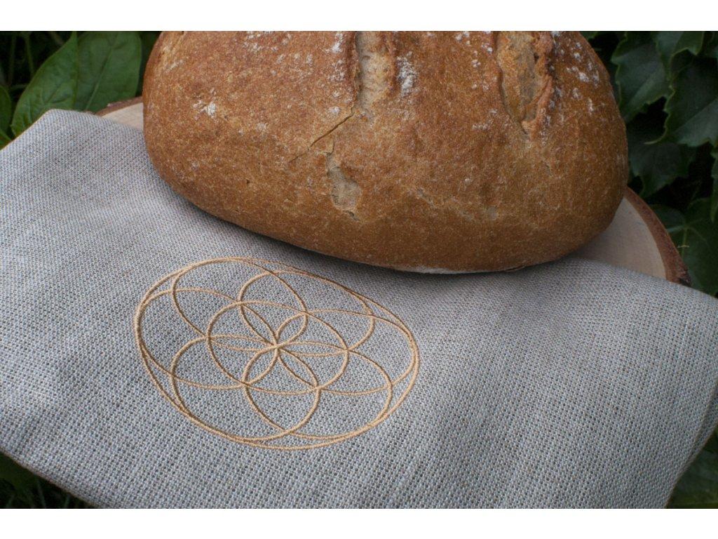 Ľanové vrecúško na chlebík s motívom Semienko života Vrecko na chlieb 5