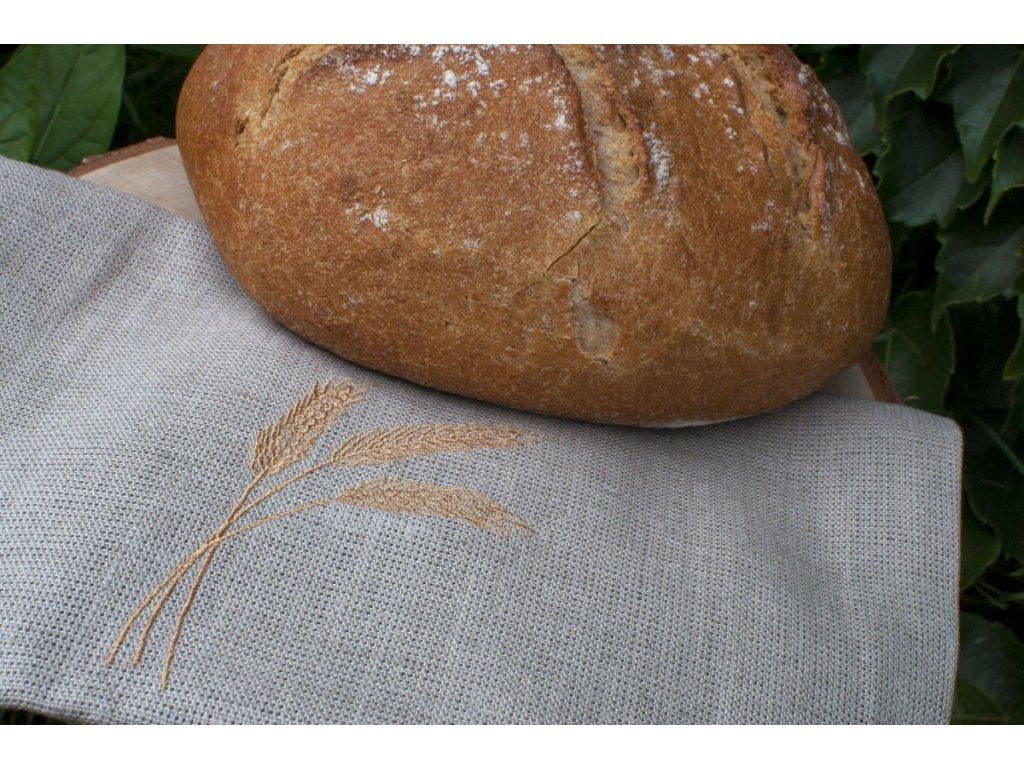 Ľanové vrecúško na chlebík s motívom Zlaté klasy Vrecko na chlieb 6
