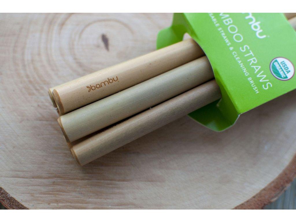 Bambusové slamky (6 ks s kefkou na čistenie) Bambu 3