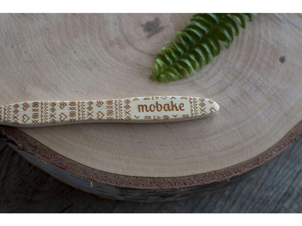 Bambusová zubná kefka Extra Soft s čičmianskym vzorom Mobake 1