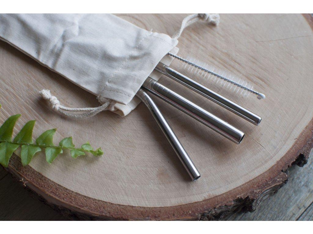 Sada nerezových slamiek (3 typy) s kefkou a vrecúškom CASA Organica Tierra Verde 9