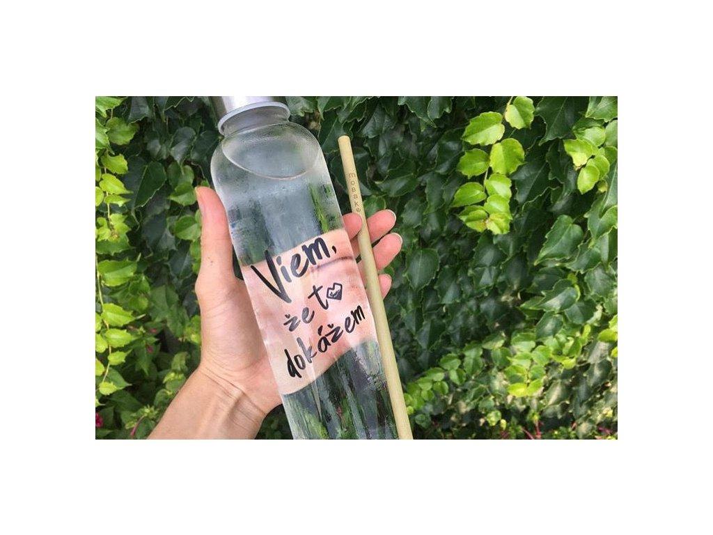 Sklenená fľaša %22Viem, že to dokážem%22 ELOME + Bambusová slamka Mobake zivotbezodpadu eko fľaša