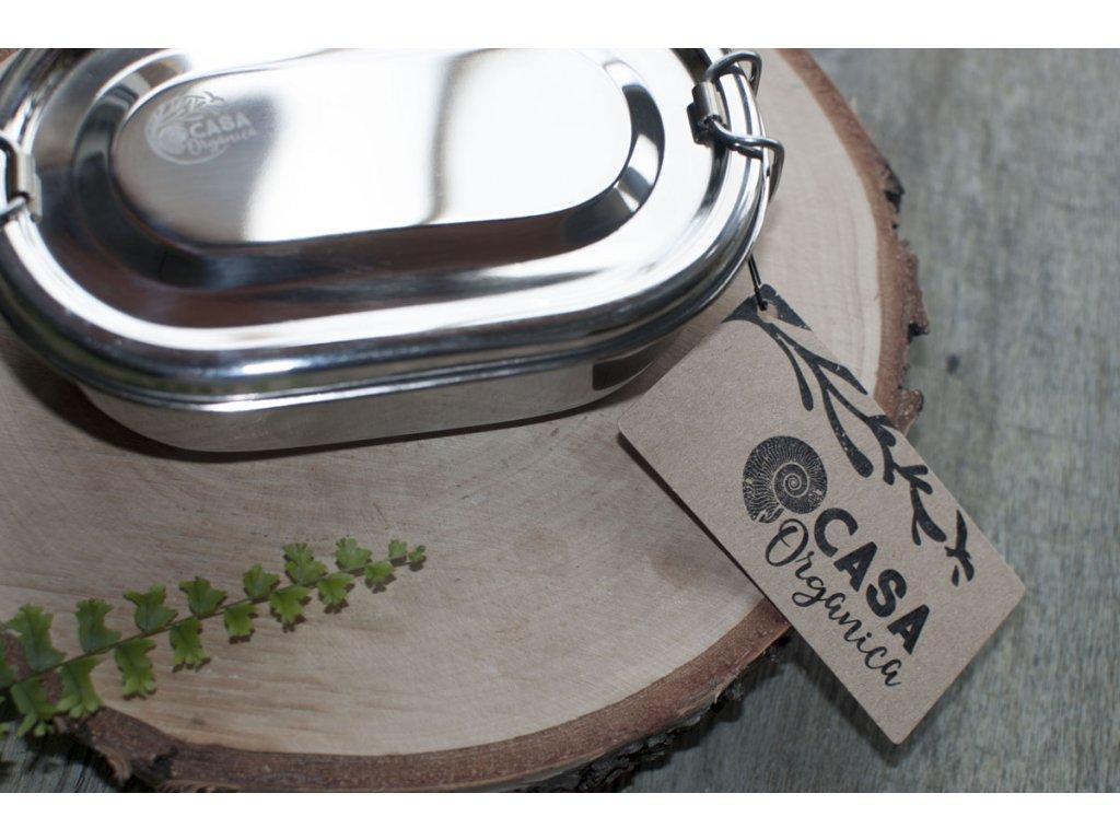 Desiatová nerezová oválna dóza so svorkami CASA Organica Tierra Verde 1