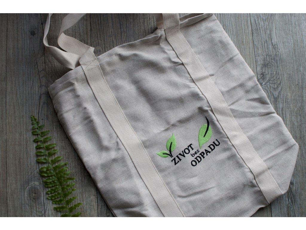 Nákupná ľanová taška s výšivkou ŽIVOT bez ODPADU Vrecko na chlieb 22