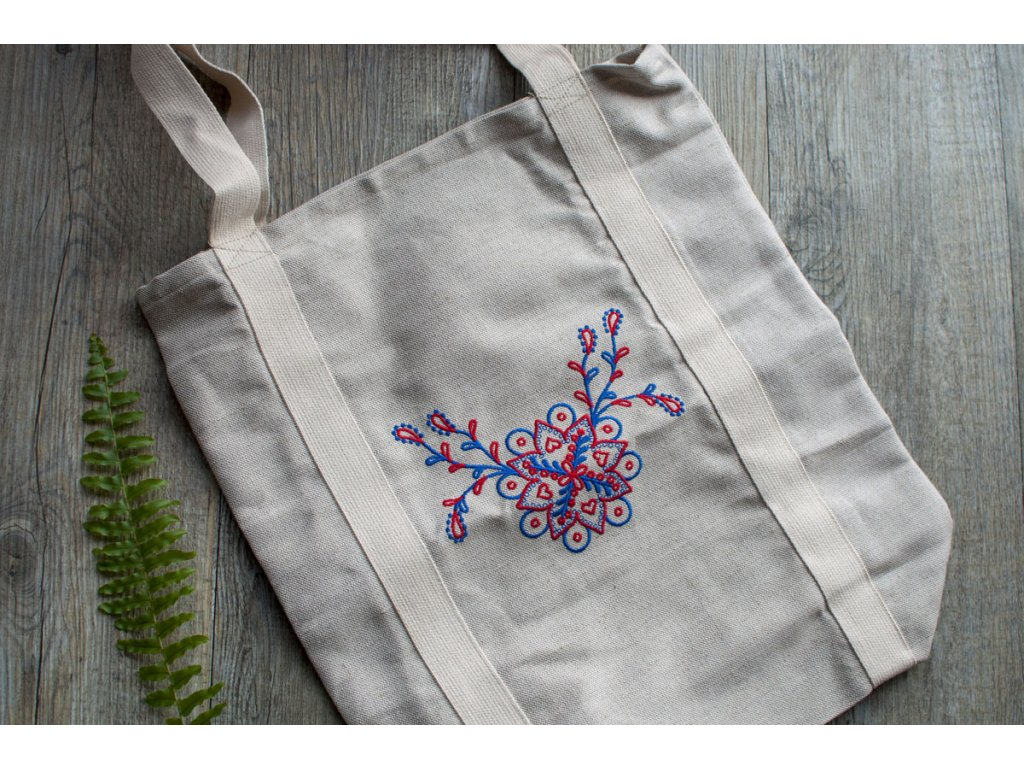 Nákupná ľanová taška s výšivkou Folklórny kvet Vrecko na chlieb 4