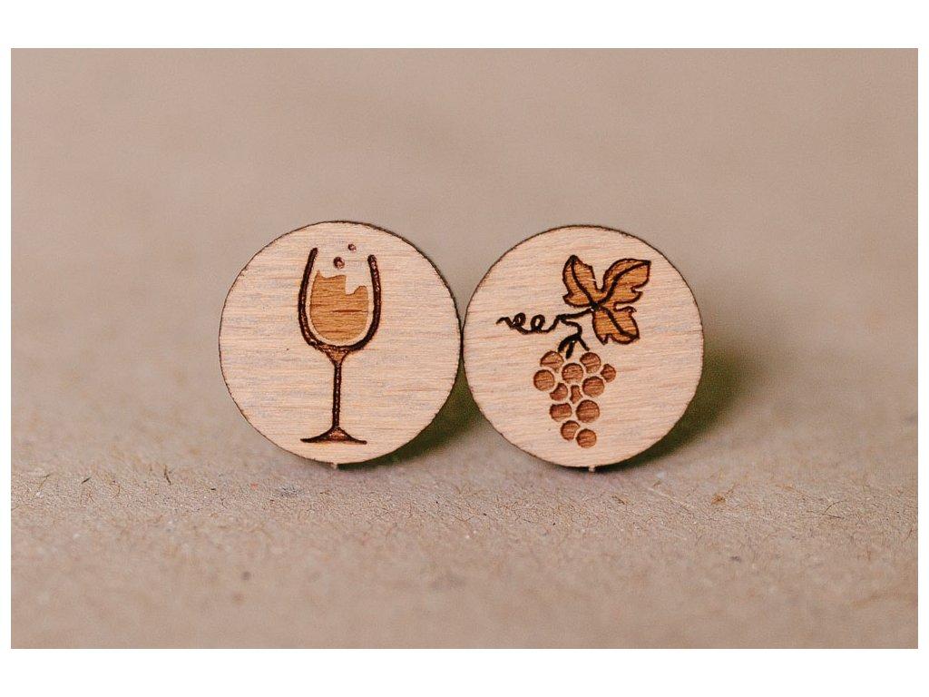 Drevené okrúhle napichovacie náušnice Hrozno s vínom Kreatvory