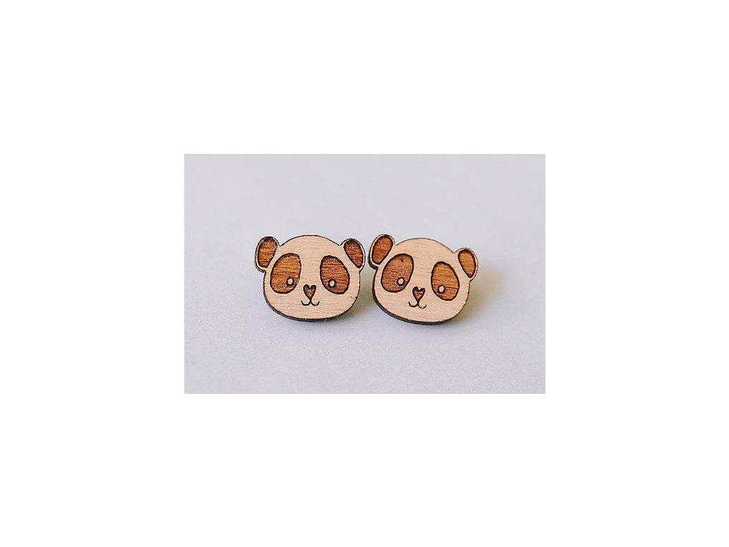 Drevené napichovacie náušnice Pandy Kreatvory