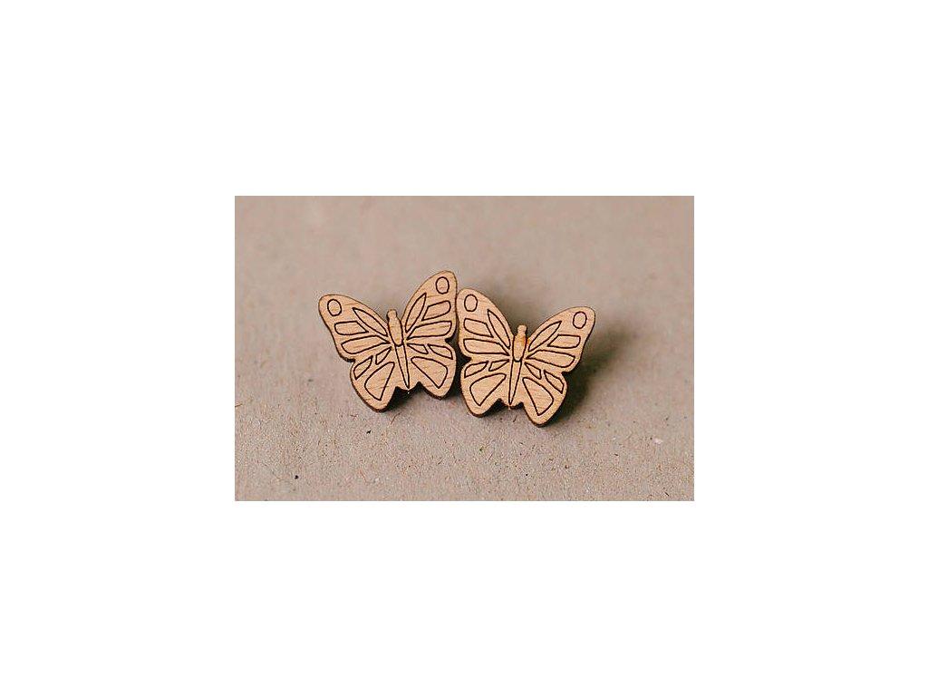 Drevené napichovacie náušnice Motýle Kreatvory 1