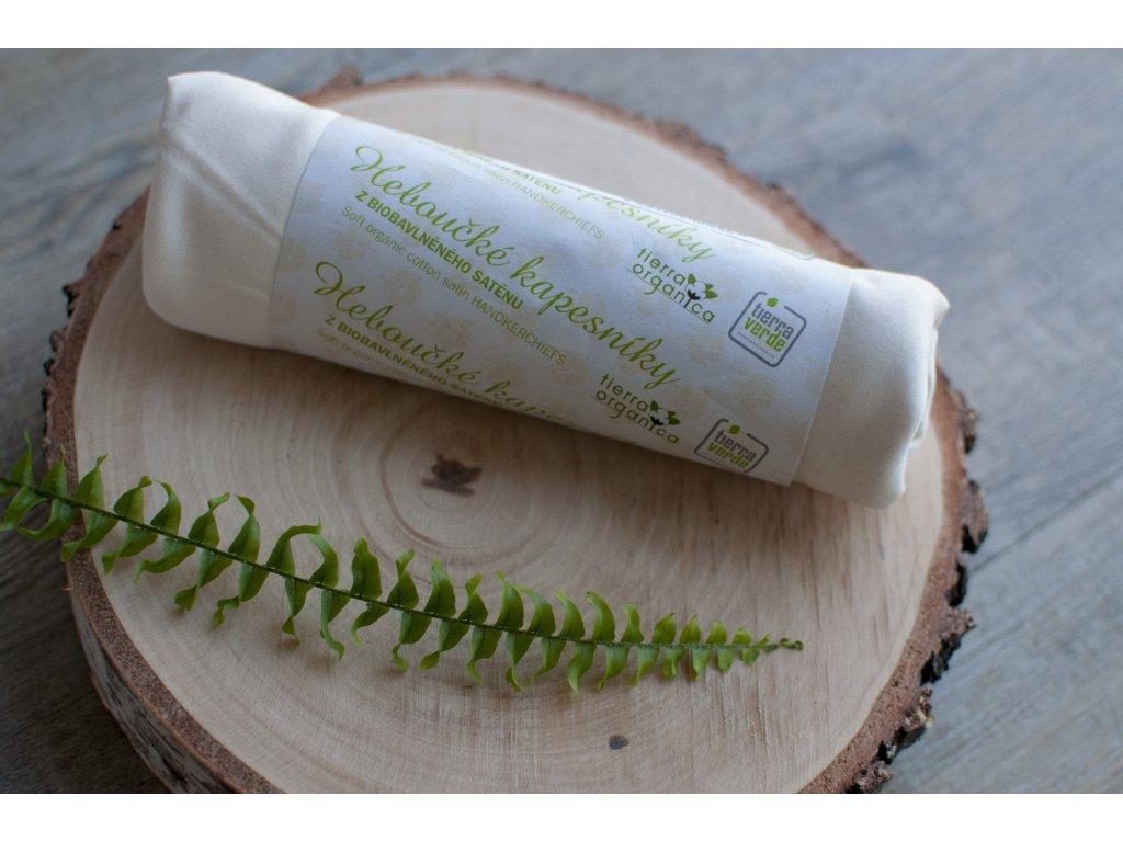 Dámske hebučké vreckovky z biobavlneného saténu - 6 ks natural - CASA Organica / Tierra Verde
