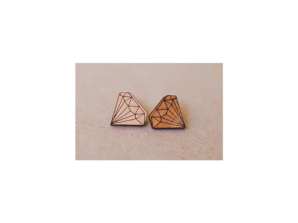 Drevené napichovacie náušnice Diamanty Kreatvory 20