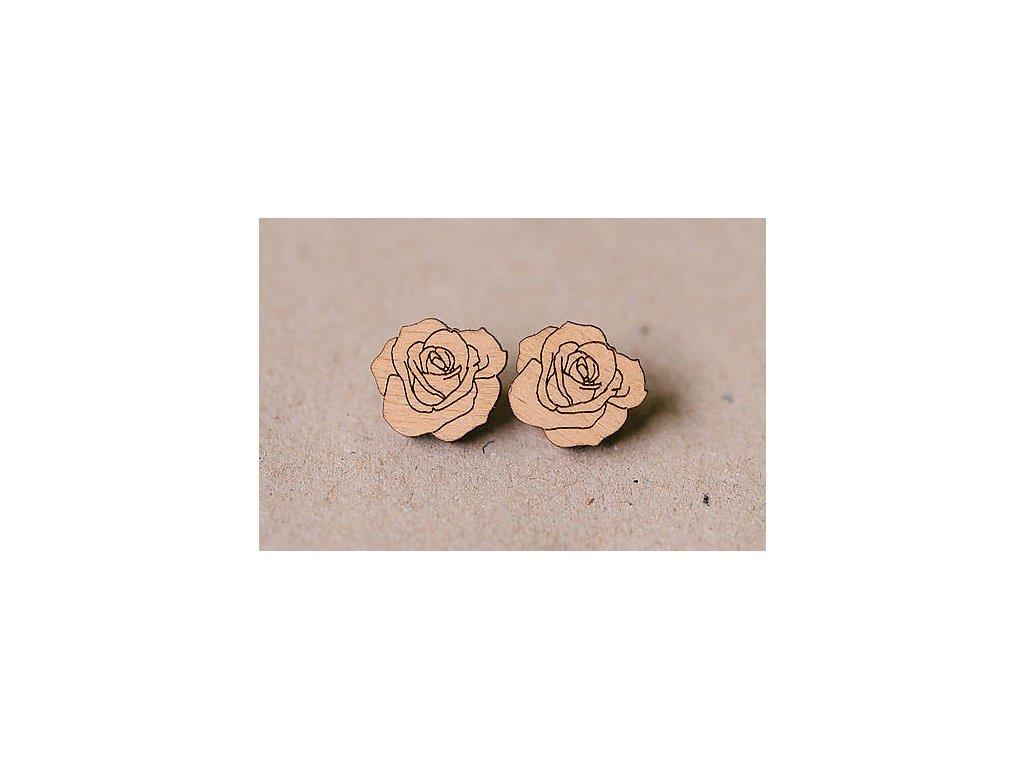 Drevené náušnice Ruže